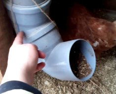 Кормушка для домашних кур, сделанная из обычной трубы.