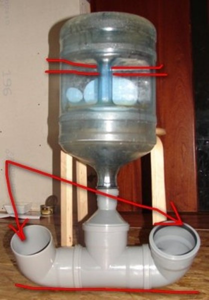 Пример поилки из трубы и тары