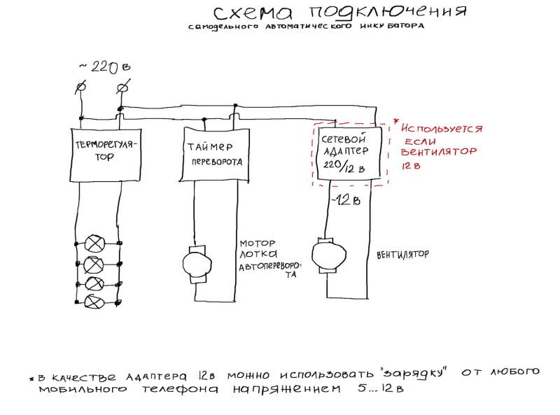Схема подключения инкубатора из холодильника