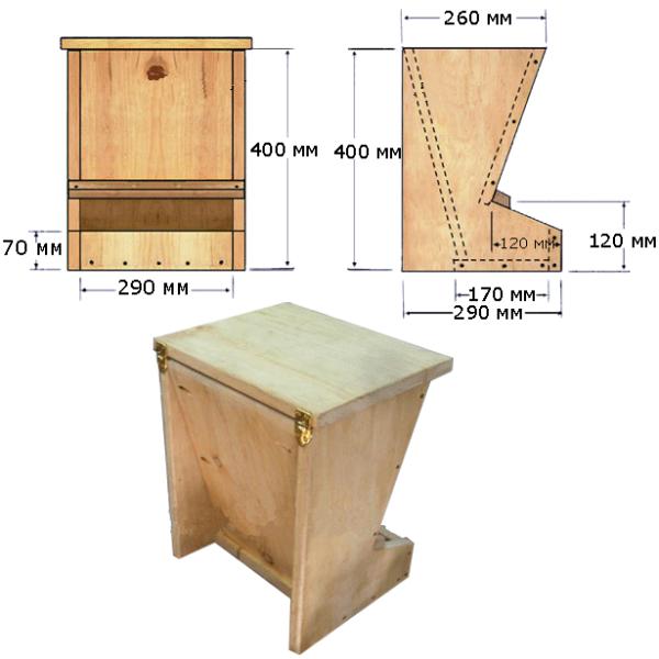 Чертеж деревянной кормушки