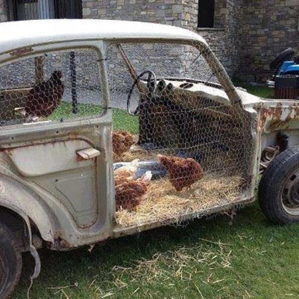 Домик для кур в старом автомобиле