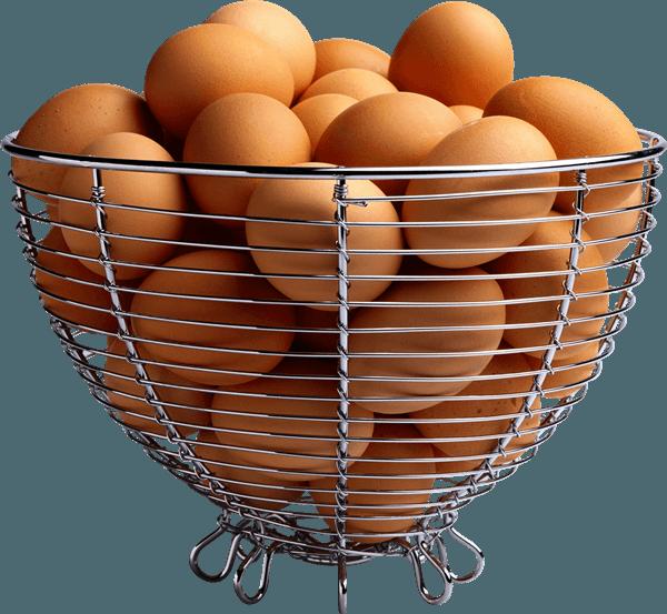 Корзина с яйцами несушек породы Вергерский великан