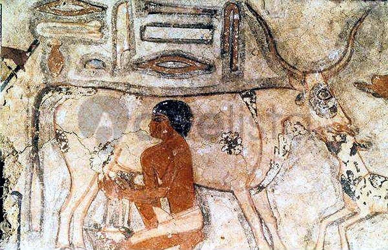 Старинная гравюра с изображением человека и коровки