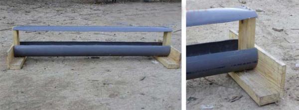 Кормушка для индюков из трубы и дерева