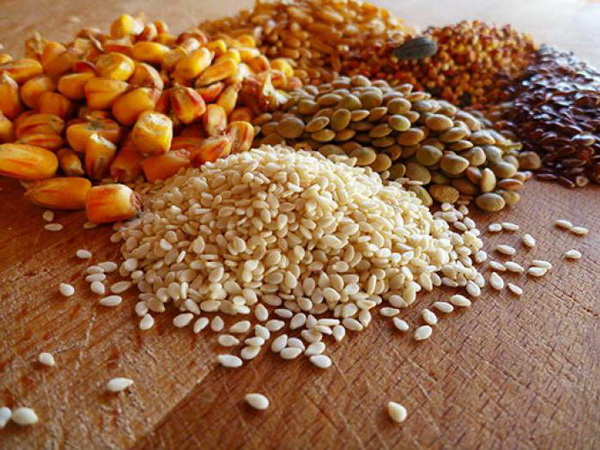 Разнообразие зерна на столе